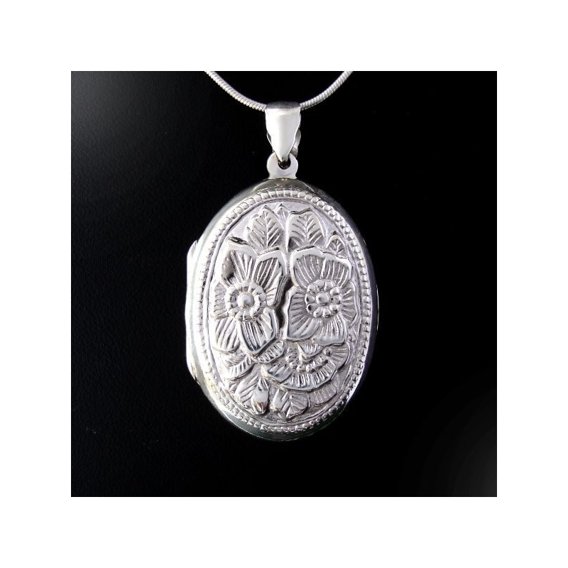 Locket pendant silver Two Flowers Repousse
