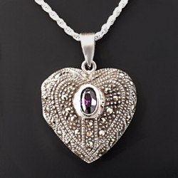 "Heart Locket ""Scheherazade"" Amethyst"