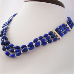 "Necklace ""Three Strands of Lapis lazuli and Silver"""