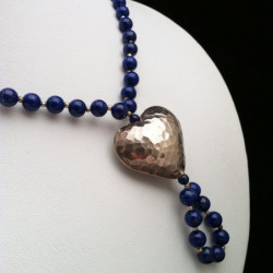 "Necklace ""Aged Silver Heart"" and Lapis lazuli  Beads"