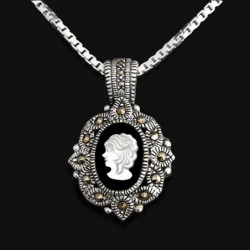 """Locket Pendant """"The Face of the Heart """" Onyx & Marcasites"""