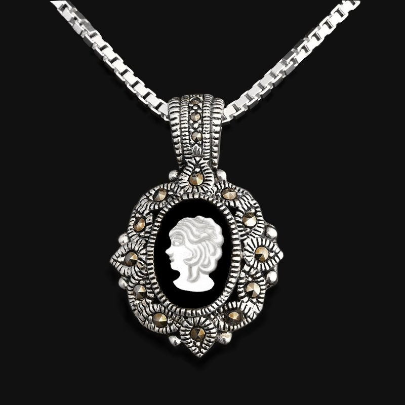 "Locket Pendant ""The Face of the Heart "" Onyx & Marcasites"