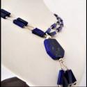 "Collana Lapis lazuli ""Fluido Geometrico"""