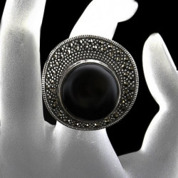 """Ring """"Chanel's Hat"""" Onyx & Marcasite"""