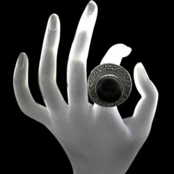 "Ring ""Chanel's Hat"" Onyx & Marcasite"