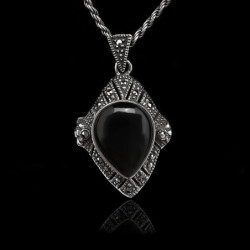 "Locket Pendant ""Diamond Shape"" Onyx & Marcasites"