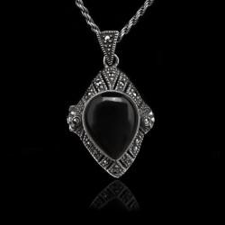 "Locket Pendant ""Diamond Shape"" Onyx & Marcasites"