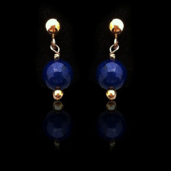 "Earrings Small ""Gold filled and Lapis lazuli Beads"""