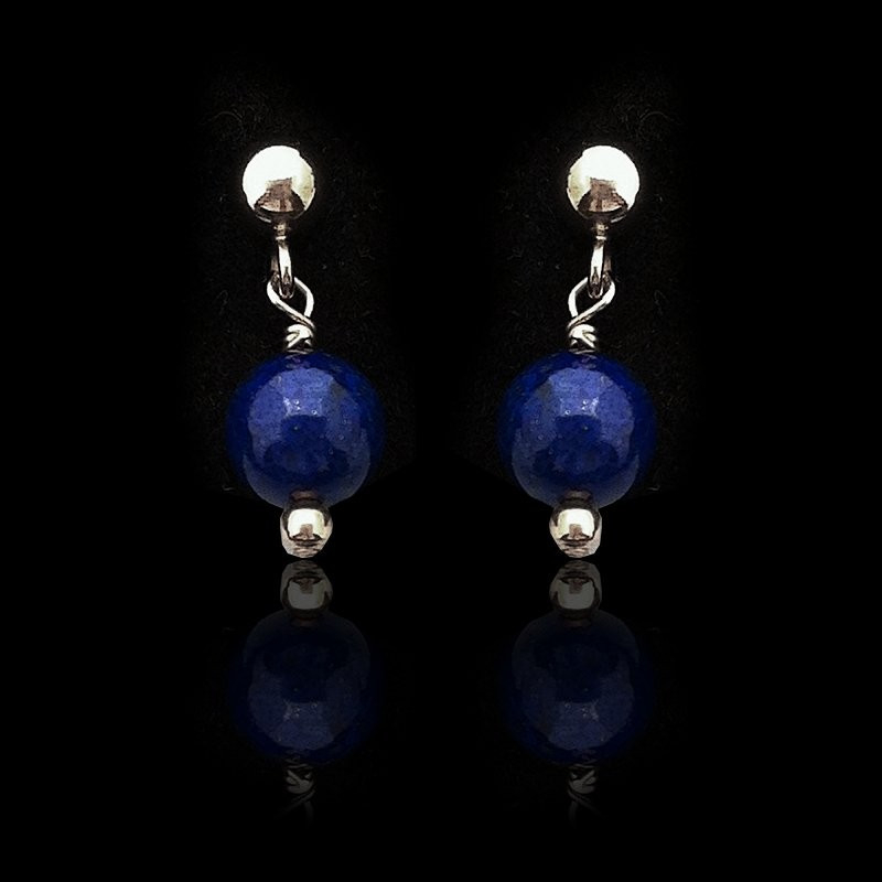 "Earrings ""Lapis lazuli Beads and Silver"" Small"