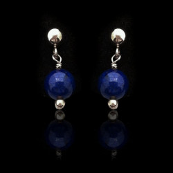 "Earrings Medium ""Silver and Lapis lazuli Beads"""
