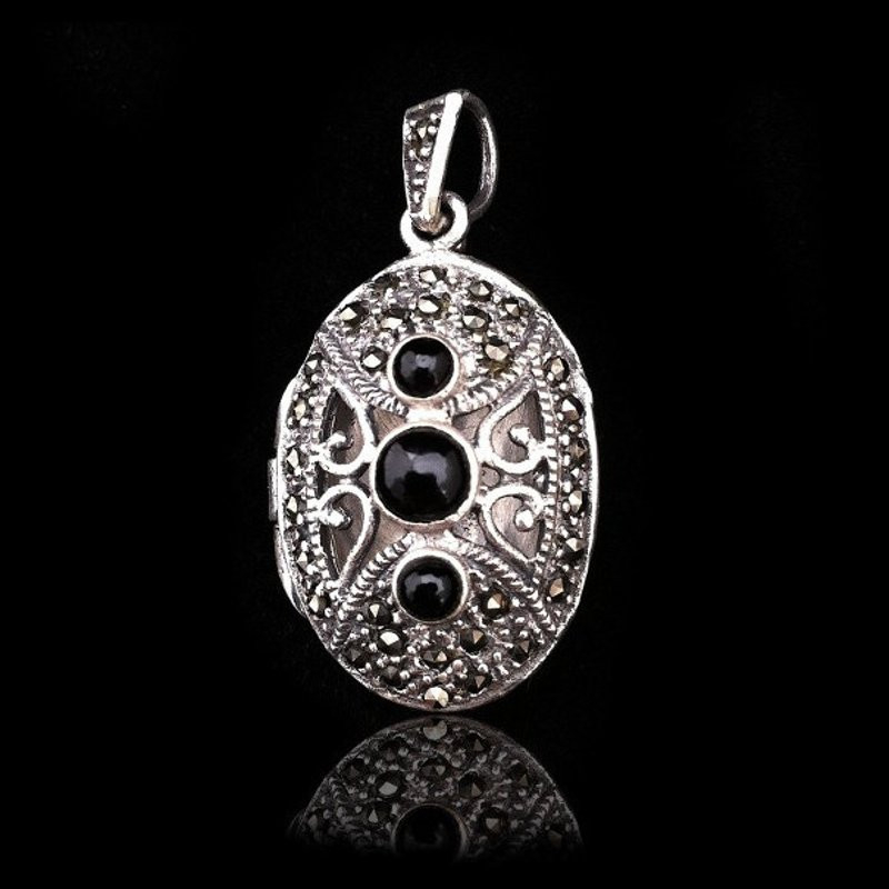 "Locket Pendant ""Trinity"" Natural Stones & Marcasite"