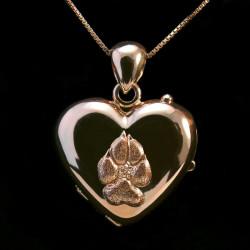 Locket pendant heart shape gold paw pad dog