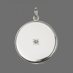 """North Star"" Locket Pendant round sterling silver with a stone"