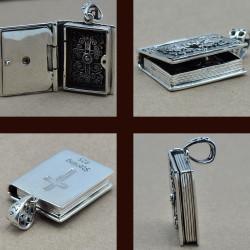 """""""Libro Sacro"""" Reliquiario ciondolo portafoto argento massiccio con una pietra per uomo"""
