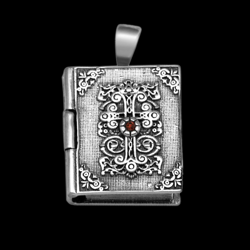 "Locket Pendant for men ""Sacred Book"" Rectangular sterling silver"