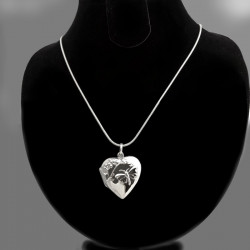 Ciondolo portafoto cuore argento con farfalla