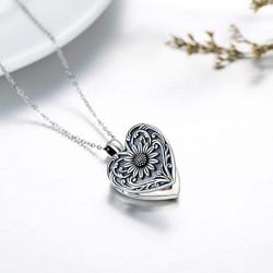 """Porta-ricordi """"cuore di girasole"""" ciondolo portafoto fatto in argento"""