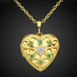 """""""Cœur de dragon"""" médaillon reliquaire coeur en argent sterling  plaqué or d'étoiles en pierre CZ"""