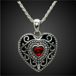 """Princess Alice"" sterling silver Garnet Locket Pendant cubic zirconia"