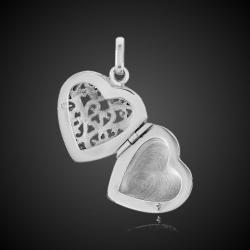 Coeur ouvert médaillon porte photo argent massif