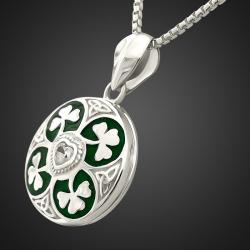 """Lucky Shamrock"" 925 Sterling Silver Photo Locket Pendant"