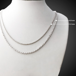 Twisted Rope 925  Sterling Silver Chain Necklace