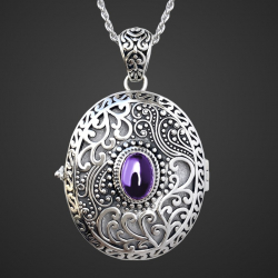 """""""Amethyst Catherine the Great"""" photo locket pendant in sterling silver 925"""