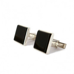 """Square Black Onyx"" Cufflinks"