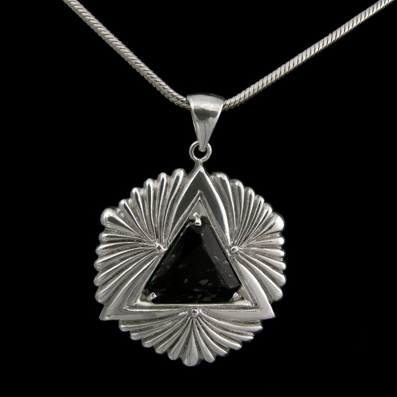 Silver Pendant Art Deco 'sci fi' with nuummite stone