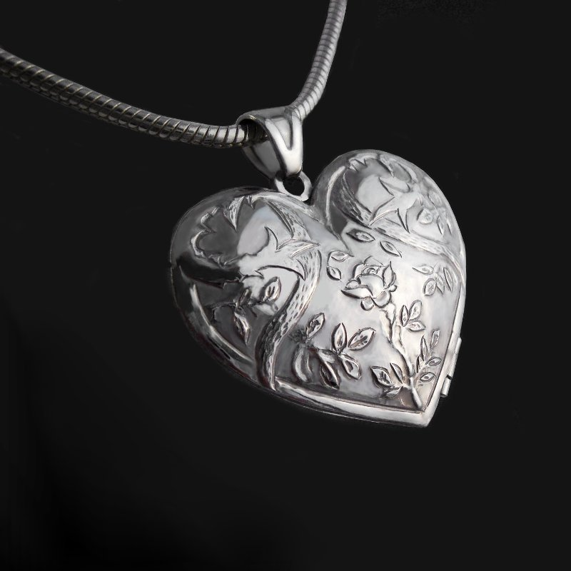 Sterling silver locket pendant heart rose with thorns