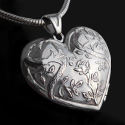 Sterling silver locket pendant heart with thorns 3.5 cm
