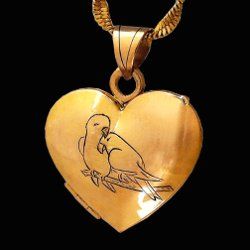 18ct gold locket pendant couple of parrots